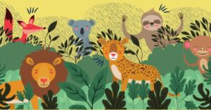 cute jungle animals hanging out fox, sloth, koala, lion, tiger, monkey wild about school nutrition NSLW